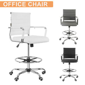 Ergonomic Mid Back Ribbed Leather Office Chair Drafting Chair Adjustable Height