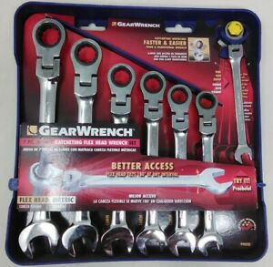 Gearwrench 7 Pc Metric Flex Head Combination Ratcheting Wrench Set