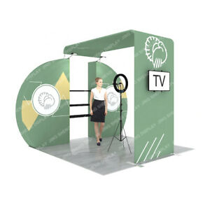 10ft Custom Fabric Trade Show Display Booth System With Shelves All Included
