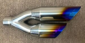Dual Universal Wf Truck Exhaust Tip Stainless Steel Replacement Mod Blue Flame
