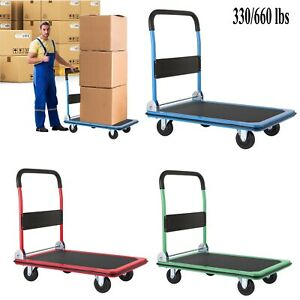 330 660lbs Platform Cart Dolly Foldable Push Hand Truck With 360 Swivel Wheels