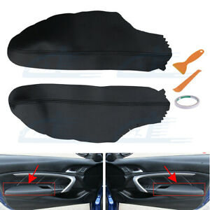 Leather Front Door Panels Armrest Cover For Honda Accord Coupe 2008 2012 Black