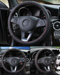Black Red Leather Car Steering Wheel Cover Pu Universal Fit 38cm 15 Inches