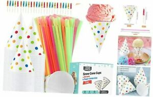 600 Summer Snow Cone Cups And Spoon Straws Polka Dot Paper Cone Cups And