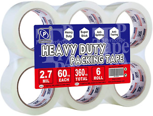 Perfectape Heavy Duty Packing Tape 6 Rolls Total 360y Clear 2 7 Mil 1 88 X