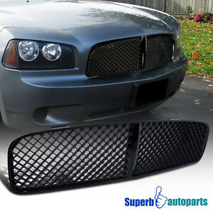 For 2005 2010 Dodge Charger Mesh Grill Honeycomb Front Hood Grille Shiny Black Fits 2010 Dodge Charger