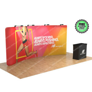 20ft Curved Fabric Trade Show Display Booth With Back Wall Lights Case To Podium
