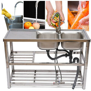 Commercial Kitchen Utility Sink With Drainboard Commercial 304 Stainless Steel