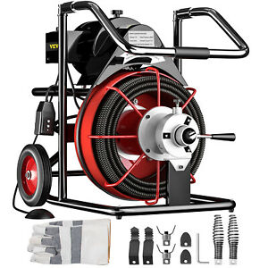 Vevor 100 X 1 2 Drain Cleaner 550w Electric Sewer Snake Machine W Cutters