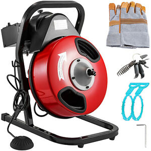 Vevor Drain Auger Cleaner Machine 1 2 X 50ft Electric Sewer Snake W 4 Cutters
