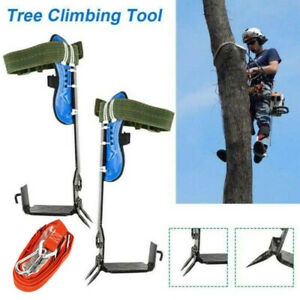 Tree Climbing Spike Set 2 gear safety Belt With Straps Adjustable Lanyard Rope