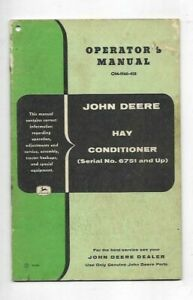 John Deere Hay Conditioner Operator s Manual Serial No 6751 And Up
