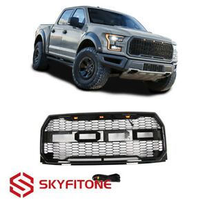 Fit Ford F150 2015 2017 Front Upper Grille Amber Lamps Raptor Style Gloss Black