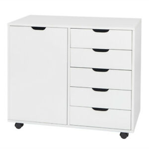 Office File Filing Cabinet W Wheels Vertical Home Storage 5 Drawers Chest White