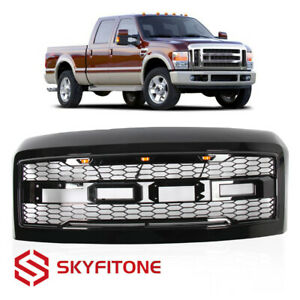 Fit 2008 2010 Ford F250 F350 Raptor Style Front Bumper Hood Grille Gloss Black