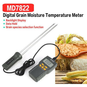 Grain Moisture Meter Humidity Thermometer Hygrometer Tester For Wheat Corn Paddy