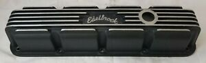 Used Sold Individually Edelbrock Magnum Performance Black Finned Valve Cover