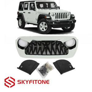 Fits Jeep Wrangler Jl Jt 18 21 Front Grille Shark Style Abs Gloss Black White