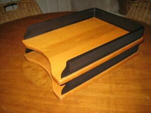 Set Of 2 Stacking Newell Office Products Wood Metal Desk Trays Letter Size Guc