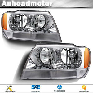 For 1999 2004 Jeep Grand Cherokee Chrome Housing Headlights Left Right Pairs