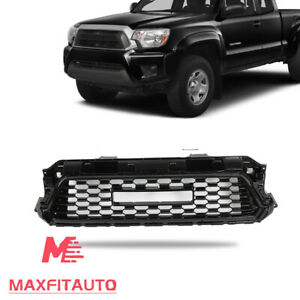 Front Upper Grille W Letters Gloss Black For 2012 2013 2014 2015 Toyota Tacoma