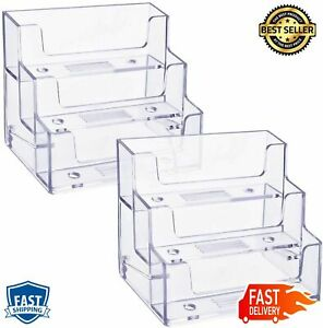 Two Pack Business Card Holder Three Tiers Plastic Stand Organizer Clear Display