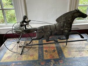 Rare Old 19th C Running Horse With Sulky 3 D Weathervane Copper Iron Handmade