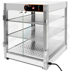 Food Warmer Countertop Commercial Pizza Warmer Display Case 3 tier Class 110v