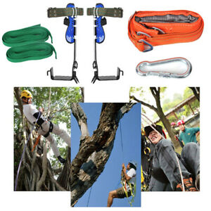 2 Gear Tree Climbing Spike Set Safety Adjustable Lanyard Rope Pedal Rescue Belt