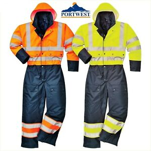 Portwest Hi Vis Contrast Lined Coverall Overall Waterproof Winter Workwear S485