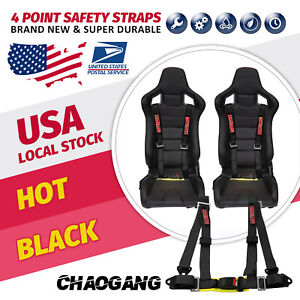 Chaogang 4point Snap On 2 With Camlock Racing Seat Belt Harness Black Universal