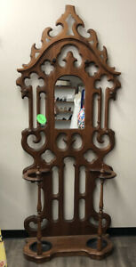 Vintage Victorian Style Hall Tree With Mirror