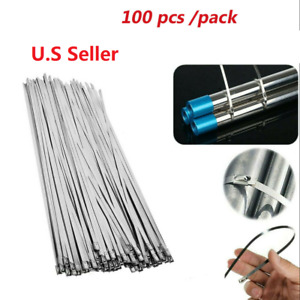 100 Pcs Cable Zip Ties 304 Stainless Steel 12 Exhaust Wrap Coated Metal Locking