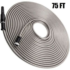 Garden Water Hose Pipe 75ft Flexible Lightweight Connector Stainless Steel Hose