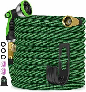 50ft Expandable Garden Hose Flexible No Kink Water Hose With 10 Metal Spray