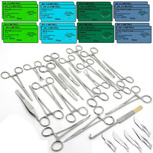108 Pcs Canine feline Spay Pack Veterinary Surgical Instruments Training Sutures