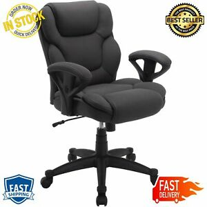 Big Tall Fabric Manager Office Chair Supports 300 Lbs Gray Extra Comfort Pillows