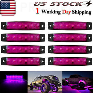 8x Purple Led Pods Rock Underbody Wheel Lights For Jeep Offroad Car Truck Atv