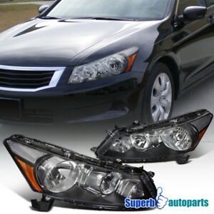 For 2008 2012 Honda Accord 4dr Seden Replacement Black Headlights Driving Lamps