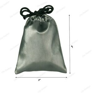 144 pc Drawstring Pouch Grey Gift Bags Gift Bag Faux Leather Jewelry Pouch 3 x4