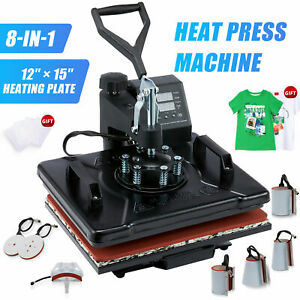 12x15 8in 1 T shirt Heat Press Machine For Shirt Mask Ceramic Tiles Cup More