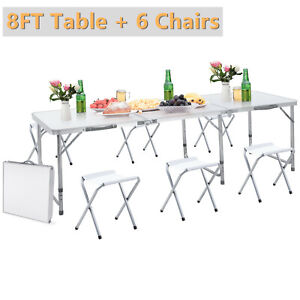 6ft Folding Table 6 Chairs Aluminium Alloy Indoor Outdoor Camp Picnic Party Us