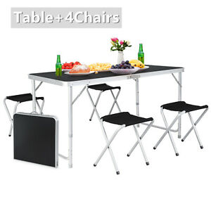 4ft Folding Table 4chairs Aluminum Height Adjustable Portable Outdoor Picnic Us