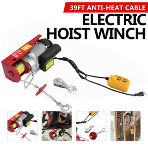 440 Lbs Electric Hoist Winch Lifting Engine Crane Cable Overhead Lift W Remote