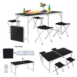 4ft Folding Table Outdoor Picnic Party Dining Camp Portable Table W 4 Chairs Us