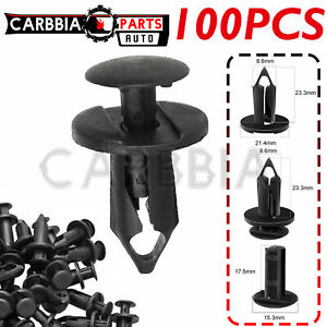 100pc Clips For Hole Plastic Rivets Retainer Fender Bumper Push Pin Fastener 8mm Fits 2004 Saturn Ion