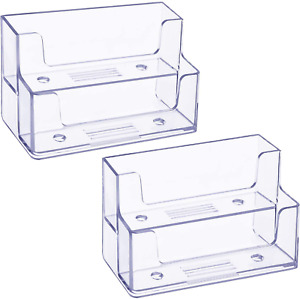 Tatuo 2 Pack Clear Business Card Holder 2 Tiers Plastic Card Stand Organizer For