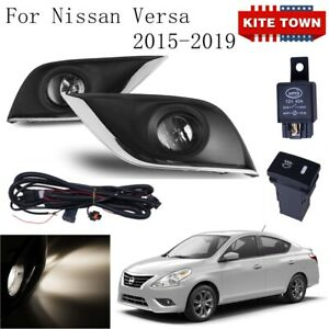 New Pair Fog Lights W Lamp Switch Wire Covers Kit For Nissan Versa 2015 2019