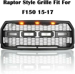 Black 2015 2017 Ford F150 Raptor Style Front Replacement Grille Bumper Grill