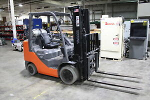 Toyota 6000 Lb Forklift 2 Stage Mast Side Shift Fork Positioners Cushion Tire Lp